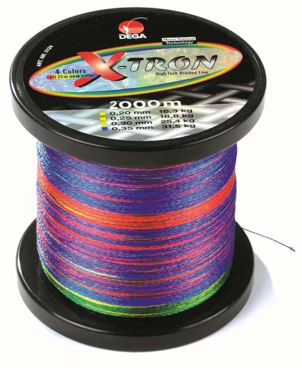 Dega geflochtene Schnur X-tron 4 farbig 2000m 0,15mm